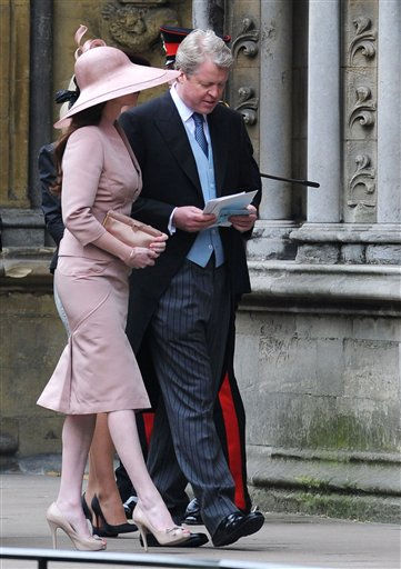 "<div class=""meta ""><span class=""caption-text "">Earl Charles Spencer and Karen Gordon arrive to attend the Royal Wedding of Prince William to Catherine Middleton at Westminster Abbey on April 29, 2011 in London. The marriage of the second in line to the British throne is to be led by the Archbishop of Canterbury and will be attended by 1900 guests, including foreign Royal family members and heads of state. Thousands of well-wishers from around the world have also flocked to London to witness the spectacle and pageantry of the Royal Wedding.  (AP Photo/Jasper Juinen, Pool) (Photo/Jasper Juinen)</span></div>"