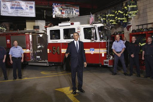 "<div class=""meta ""><span class=""caption-text "">President Barack Obama meets with firefighters and first responders at Engine 54, Ladder 4, Battalion 9 before visiting the National Sept. 11 Memorial at Ground Zero in New York, Thursday, May 5, 2011.  (AP Photo/ Charles Dharapak)</span></div>"