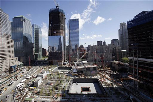 Ground zero is seen from the south side of the site in New York, Thursday, May 5, 2011. President Obama will be visiting the site Thursday to lay a wreath and meet with victims&#39; families. <span class=meta>(AP Photo&#47; Seth Wenig)</span>