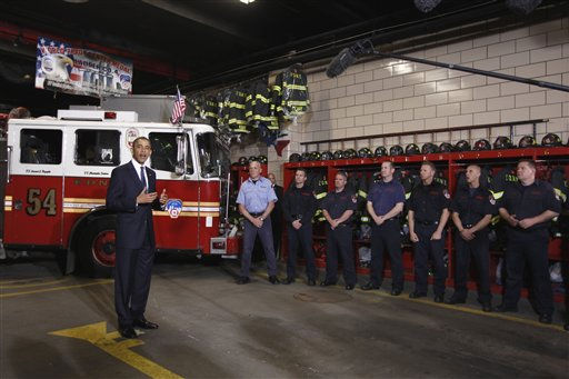 President Barack Obama meets with firefighters and first responders at Engine 54, Ladder 4, Battalion 9 before visiting the National Sept. 11 Memorial at Ground Zero in New York, Thursday, May 5, 2011.  <span class=meta>(AP Photo&#47; Charles Dharapak)</span>