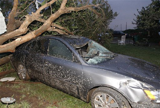 "<div class=""meta image-caption""><div class=""origin-logo origin-image ""><span></span></div><span class=""caption-text"">A car is crushed under a fallen tree following a tornado in Piedmont, Okla., Tuesday, May 24, 2011. Several tornadoes struck Oklahoma City and its suburbs during rush hour, killing at least four people and injuring at least 60 others, including three children who were in critical condition, authorities said. (AP Photo/Sue Ogrocki) (AP Photo/ Sue Ogrocki)</span></div>"