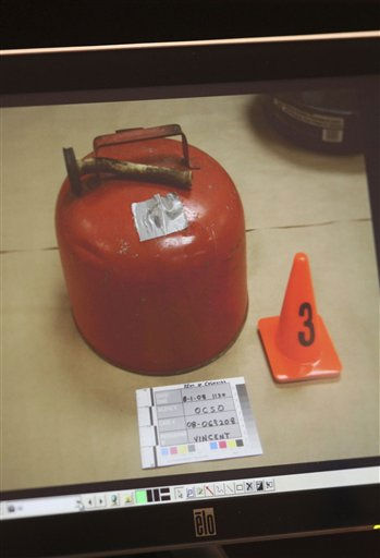 This photo of an image projected on a courtroom monitor shows a gas can that was entered into evidence in the trial of Casey Anthony at the Orange County Courthouse on Thursday, May 26, 2011, in Orlando, Fla. Anthony is charged with murder in the 2008 death of her daughter Caylee. &#40;AP Photo&#47;Red Huber, Pool&#41; <span class=meta>(AP Photo&#47; Red Huber)</span>