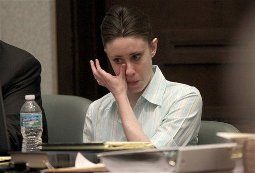 "<div class=""meta ""><span class=""caption-text "">Casey Anthony becomes emotional during her trial at the Orange County Courthouse, Thursday, May 26, 2011, in Orlando, Fla. Anthony is charged with murder in the 2008 death of her daughter Caylee. (AP Photo/Red Huber, Pool) (AP Photo/ Red Huber)</span></div>"
