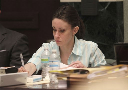 "<div class=""meta ""><span class=""caption-text "">Casey Anthony takes notes during her first degree murder trial at the Orange County Courthouse on Thursday, May 26, 2011, in Orlando, Fla. Anthony is charged with first-degree murder in the death of her daughter, Caylee. If convicted she could face the death penalty. (AP Photo/Red Huber, Pool) (AP Photo/ Red Huber)</span></div>"