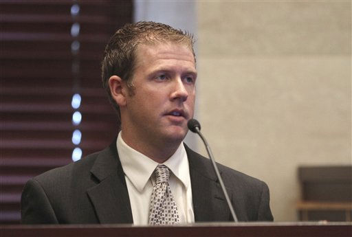 "<div class=""meta ""><span class=""caption-text "">Christopher Stutz, a friend of Casey Anthony, testifies at her first degree murder trial at the Orange County Courthouse on Thursday, May 26, 2011, in Orlando, Fla. Anthony is charged with first-degree murder in the death of her daughter, Caylee. If convicted she could face the death penalty. (AP Photo/Red Huber, Pool) (AP Photo/ Red Huber)</span></div>"