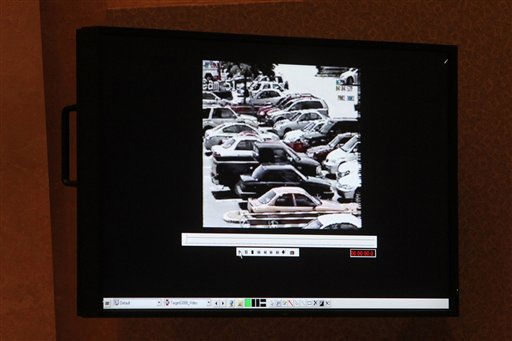 A detail of a surveillance video shown as evidence in the Casey Anthony trial is shown on a monitor at the Orange County Courthouse, Friday, May 27, 2011 in Orlando, Fla. The video is one of a series from retail stores that show Anthony shopping during the time period when her daughter Caylee was missing.  Anthony  has pleaded not guilty to first-degree murder of her daughter, 2-year-old Caylee Anthony in the summer of 2008. If convicted, she could be sentenced to death. &#40;AP Photo&#47;Red Huber, Pool&#41; <span class=meta>(AP Photo&#47; Red Huber)</span>