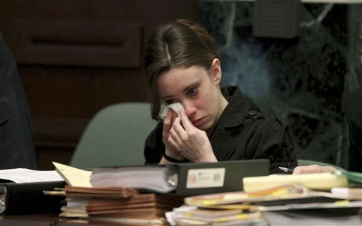 "<div class=""meta ""><span class=""caption-text "">Casey Anthony listens to the testimony of Mallory Parker during Anthony's trial at the Orange County Courthouse, Friday, May 27, 2011 in Orlando, Fla. Anthony, 25, has pleaded not guilty to first-degree murder of her daughter, 2-year-old Caylee Anthony, in the summer of 2008. If convicted, she could be sentenced to death. (AP Photo/Red Huber, Pool) (AP Photo/ Red Huber)</span></div>"