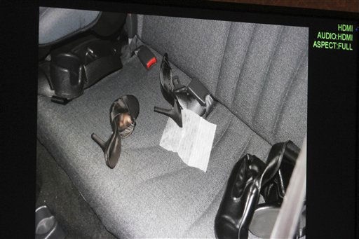 A photo of the interior of Casey Anthony&#39;s car entered into evidence is seen on a computer screen during her trial at the Orange County Courthouse in Orlando, Fla., Tuesday, May 31, 2011. &#40;AP Photo&#47;Red Huber, Pool&#41; <span class=meta>(AP Photo&#47; Red Huber)</span>