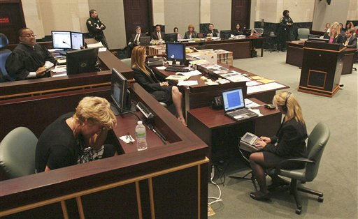 Cindy Anthony, left, breaks down on the witness stand while testifying Tuesday, May 31, 2011 during her daughter, Casey&#39;s, murder trial at the Orange County Courthouse in Orlando, Florida. Casey Anthony is charged in the murder of her daughter Caylee Anthony during the summer of 2008. &#40;AP Photo&#47;Red Huber, Pool&#41; <span class=meta>(AP Photo&#47; Red Huber)</span>