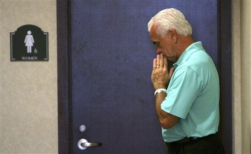 George Anthony becomes emotional while waiting for his wife, Cindy Anthony, outside the women&#39;s restroom following her testimony during the trial of their daughter, Casey Anthony, at the Orange County Courthouse, Tuesday, May 31, 2011,  in Orlando, Fla. Casey Anthony is charged with murder in the 2008 death of her daughter Caylee. &#40;AP Photo&#47;Joe Burbank, Pool&#41; <span class=meta>(AP Photo&#47; Joe Burbank)</span>