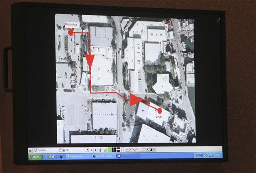 A courtroom monitor showing an aerial view of Universal Studios Florida is presented as evidence during the trial of Casey Anthony at the Orange County Courthouse on Thursday, June 2, 2011, in Orlando, Fla. The red path marked is the route Anthony took investigators to show them where she worked. She later admitted that she did not work at the theme park. Anthony is on trial for the murder of her 2-year-old daughter. &#40;AP Photo&#47;Red Huber, Pool&#41; <span class=meta>(AP Photo&#47; Red Huber)</span>