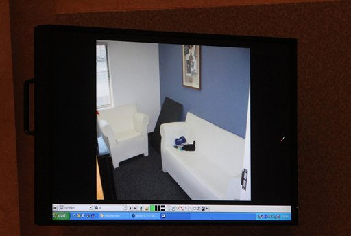 A courtroom monitor shows a photo entered into evidence during the Casey Anthony trial at the Orange County Courthouse on Thursday, June 2, 2011, in Orlando, Fla. The photo shows a room in a building at Universal Studios Orlando where Anthony claimed she worked. She did not have a job at Universal at that time. Anthony, 25, is charged with murder in the 2008 death of her daughter Caylee.  If convicted, she could be sentenced to death.  &#40;AP Photo&#47;Red Huber, Pool&#41; <span class=meta>(AP Photo&#47; Red Huber)</span>