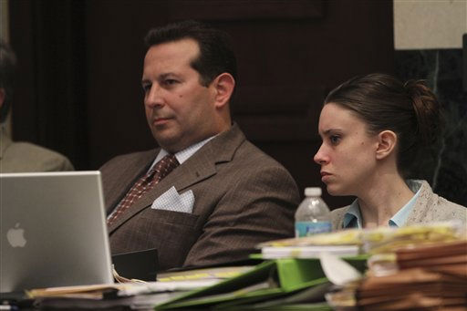 "<div class=""meta ""><span class=""caption-text "">Casey Anthony, right, with her attorney Jose Baez during her murder trial at the Orange County Courthouse on Thursday, June 2, 2011, in Orlando, Fla. Anthony, 25, is charged with murder in the 2008 death of her daughter Caylee.  If convicted, she could be sentenced to death.  (AP Photo/Red Huber, Pool) (AP Photo/ Red Huber)</span></div>"