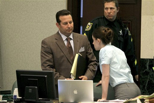 Jose Baez, left, listens to his client, Casey Anthony, during a break in her murder trial at the Orange County Courthouse on Thursday, June 2, 2011, in Orlando, Fla. Anthony, 25, is charged with murder in the 2008 death of her daughter Caylee.  If convicted, she could be sentenced to death.  &#40;AP Photo&#47;Red Huber, Pool&#41; <span class=meta>(AP Photo&#47; Red Huber)</span>