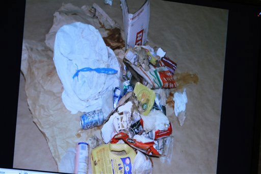 A photo entered into evidence is seen on a courtroom monitor during the Casey Anthony murder trial at the Orange County Courthouse on Tuesday, June 7, 2011, in Orlando, Fla.  The photo shows the contents of a bag of trash that was found in the trunk of Anthony&#39;s car. Anthony is charged with killing her 2-year old daughter in 2008. &#40;AP Photo&#47;Joe Burbank,Pool&#41; <span class=meta>(AP Photo&#47; Joe Burbank)</span>
