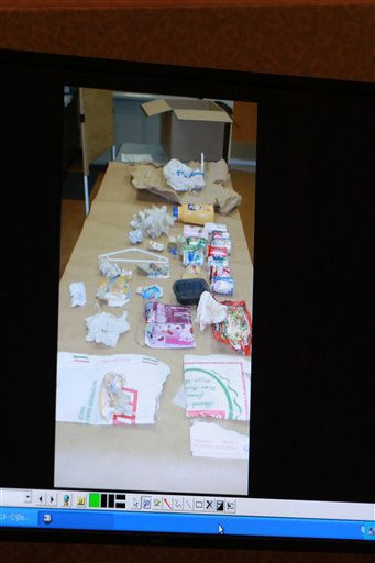"<div class=""meta image-caption""><div class=""origin-logo origin-image ""><span></span></div><span class=""caption-text"">A photo entered into evidence is seen on a courtroom monitor during the Casey Anthony trial at the Orange County Courthouse on Tuesday, June 7, 2011, in Orlando, Fla.  The photo shows the contents of a bag of trash that was found in the trunk of Anthony's car. Anthony is charged with killing her 2-year old daughter in 2008. (AP Photo/Joe Burbank,Pool) (AP Photo/ Joe Burbank)</span></div>"