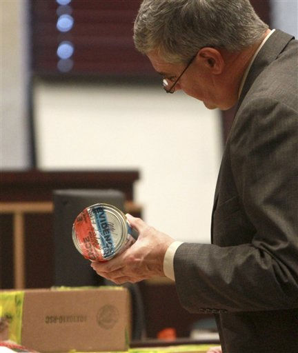 Assistant state attorney Jeff Ashton holds a can of air sample evidence during the Casey Anthony trial at the Orange County Courthouse on Tuesday, June 7, 2011, in Orlando, Fla.  The wrong piece of evidence was discussed the previous day in court and Ashton had to reintroduce the proper evidence in court. &#40;AP Photo&#47;Joe Burbank,Pool&#41; <span class=meta>(AP Photo&#47; Joe Burbank)</span>
