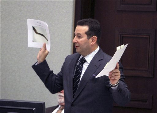 "<div class=""meta ""><span class=""caption-text "">Defense attorney Jose Baez address the judge during the Casey Anthony trial at the Orange County Courthouse on Monday, June 13, 2011, in Orlando, Fla.  Anthony, 25,  is charged with killing her 2-year old daughter in 2008.(AP Photo/Red Huber,Pool) (AP Photo/ Red Huber)</span></div>"