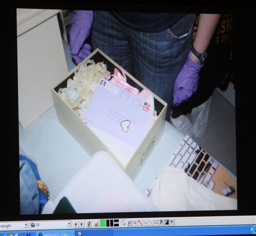 "<div class=""meta ""><span class=""caption-text "">A photograph of an envelope with a heart shaped sticker on it that was found in the Anthony home is displayed on a monitor after being entered into evidence during day 18 of the Casey Anthony murder trial at the Orange County Courthouse, in Orlando, Fla., Tuesday, June 14, 2011. Anthony, 25,  is charged with killing her 2-year old daughter in 2008. (AP Photo/Red Huber, Pool) (AP Photo/ Red Huber)</span></div>"