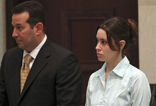 "<div class=""meta image-caption""><div class=""origin-logo origin-image ""><span></span></div><span class=""caption-text"">Casey Anthony, right, with defense attorney Jose Baez, listens to proceedings during her murder trial at the Orange County Courthouse, in Orlando, Fla., Wednesday, June 15, 2011. Anthony, 25,  is charged with killing her 2-year old daughter in 2008.(AP Photo/Red Huber,Pool) (AP Photo/ Red Huber)</span></div>"