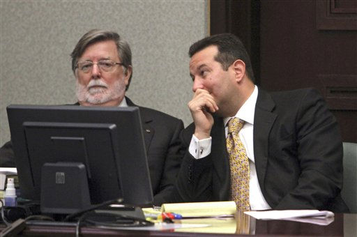"<div class=""meta ""><span class=""caption-text "">Defense attorneys Cheney Mason, left, and Jose Baez talk at the defense table during the Casey Anthony murder trial at the Orange County Courthouse, in Orlando, Fla., Wednesday, June 15, 2011.  Anthony, 25,  is charged with killing her 2-year old daughter in 2008.(AP Photo/Red Huber,Pool) (AP Photo/ Red Huber)</span></div>"