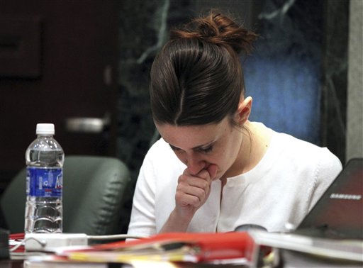 "<div class=""meta image-caption""><div class=""origin-logo origin-image ""><span></span></div><span class=""caption-text"">Casey Anthony listens to court proceedings during her murder trial at the Orange County Courthouse, Thursday, June 16, 2011, in Orlando, Fla. Anthony, 25, is charged with killing her 2-year old daughter in 2008. (AP Photo/Red Huber, Pool) (AP Photo/ Red Huber)</span></div>"