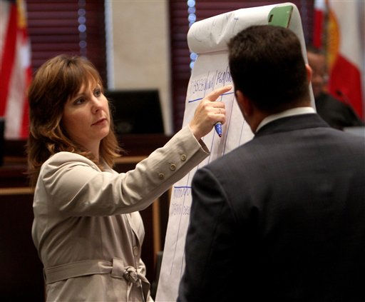 Heather Seubert, of the FBI lab in Quantico, Va., illustrates a point for the jury with defense attorney Jose Baez as she testifies during Casey Anthony&#39;s murder trial at the Orange County Courthouse, Thursday, June 16, 2011, in Orlando, Fla. Anthony, 25, is charged with killing her 2-year old daughter in 2008. &#40;AP Photo&#47;Red Huber, Pool&#41; <span class=meta>(AP Photo&#47; Red Huber)</span>