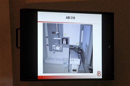 This image seen on a courtroom monitor shows a slide from a presentation about DNA presented by Dr. Richard Eikelenboom during testimony in the Casey Anthony trial at the Orange County Courthouse in Orlando, Fla., Tuesday, June 21, 2011. Casey Anthony, 25, is charged with killing her daughter Caylee in the summer of 2008. &#40;AP Photo&#47;Red Huber, Pool&#41; <span class=meta>(AP Photo&#47; Red Huber)</span>