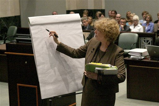 "<div class=""meta ""><span class=""caption-text "">Defense counsel Dorothy Clay Sims draws a diagram during Casey Anthony's murder trial at the Orange County Courthouse, in Orlando, Fla., Thursday, June 23, 2011. Anthony is charged with killing her daughter, Caylee in 2008. (AP Photo/Joe Burbank, Pool) (AP Photo/ Joe Burbank)</span></div>"