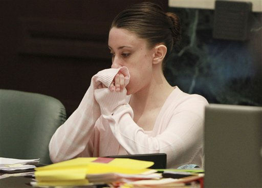 "<div class=""meta image-caption""><div class=""origin-logo origin-image ""><span></span></div><span class=""caption-text"">Casey Anthony sits during a recess in her trail at the Orange County Courthouse in Orlando, Fla. on Thursday, June 23, 2011. Anthony is charged with murder in the death of her daughter Caylee in 2008. (AP Photo/Red Huber, Pool) (AP Photo/ Red Huber)</span></div>"