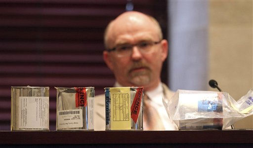 "<div class=""meta image-caption""><div class=""origin-logo origin-image ""><span></span></div><span class=""caption-text"">Evidence is lined up in front of Dr. Barry Logan, an analytic chemist, as he waits to testify on day 26 of Casey Anthony's murder trial at the Orange County Courthouse, in Orlando, Fla., Thursday, June 23, 2011. Anthony is charged with killing her daughter, Caylee.  (AP Photo/Red Huber, Pool) (AP Photo/ Red Huber)</span></div>"