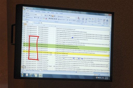 "<div class=""meta ""><span class=""caption-text "">A picture of computer reports from the Anthony desktop computer is shown on a courtroom monitor on day 26 of Casey Anthony's first degree murder trial at the Orange County Courthouse in Orlando, Fla., Thursday, June 23, 2011. Casey Anthony, 25, is charged with killing her daughter Caylee in the summer of 2008. (AP Photo/Red Huber, Pool) (AP Photo/ Red Huber)</span></div>"