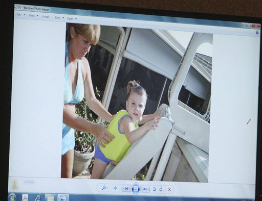 An image projected on a courtroom monitor showing Cindy Anthony, left, and her granddaughter Caylee at the family pool at their home, is submitted into evidence in the Casey Anthony trial at the Orange County Courthouse in Orlando, Fla., on Friday, June 24, 2011. Anthony, 25, is charged with the murder of her 2-year old daughter in 2008.  Defense attorneys showed jurors several photos on Friday that they hope bolster their argument that the toddler drowned and wasn&#39;t murdered.  &#40;AP Photo&#47;Red Huber,Pool&#41; <span class=meta>(AP Photo&#47; Red Huber)</span>