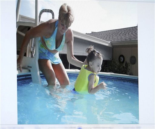 "<div class=""meta image-caption""><div class=""origin-logo origin-image ""><span></span></div><span class=""caption-text"">An image projected on a courtroom monitor showing Cindy Anthony, left, and her granddaughter Caylee at the family pool at their home is submitted into evidence in the Casey Anthony trial at the Orange County Courthouse in Orlando, Fla., on Friday, June 24, 2011. Anthony, 25, is charged with the murder of her 2-year old daughter in 2008.  Defense attorneys showed jurors several photos on Friday that they hope bolster their argument that the toddler drowned and wasn't murdered.  (AP Photo/Red Huber,Pool) (AP Photo/ Red Huber)</span></div>"