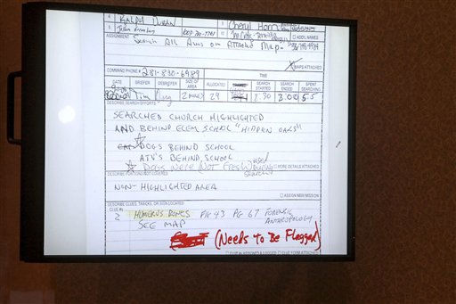 "<div class=""meta ""><span class=""caption-text "">An image projected on a courtroom monitor shows a document entered into evidence in the Casey Anthony murder trial at the Orange County Courthouse, Tuesday, June 28, 2011, in Orlando, Fla. Anthony, 25, is charged with killing her daughter Caylee in the summer of 2008. (AP Photo/Red Huber, Pool) (AP Photo/ Red Huber)</span></div>"