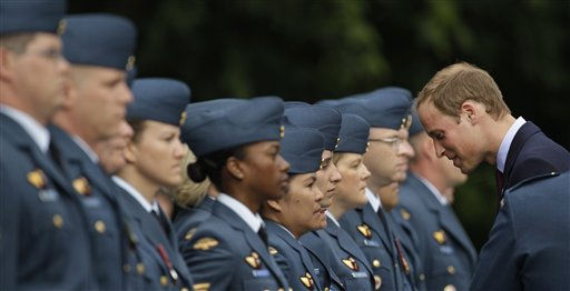 Prince William reviews a Canadian Forces guard of honor during a welcome ceremony at Rideau Hall in Ottawa, Canada Thursday June 30, 2011. &#40;AP Photo&#47;Charlie Riedel&#41; <span class=meta>(AP Photo&#47; Charlie Riedel)</span>