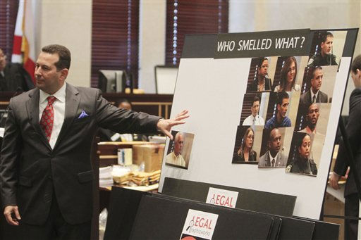 "<div class=""meta ""><span class=""caption-text "">Defense attorney Jose Baez discusses who smelled what during his closing arguements at the Casey Anthony murder trial at the Orange County Courthouse in Orlando, Fla., Sunday, July 3, 2011. Anthony has plead not guilty to first-degree murder in the death of her daughter, Caylee, and could face the death penalty if convicted of that charge. (AP Photo/Red Huber, Pool) (AP Photo/ Red Huber)</span></div>"