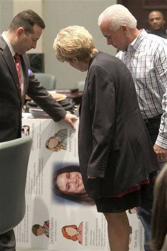 Defense attorney Jose Baez. left, shows a poster with their daughter&#39;s photo on it, to Cindy and George Anthony during a recess in the Casey Anthony trial in Orlando, Fla., Sunday, July 3, 2011. The large photo in the center of the poster shows Casey as a teenager. The Anthonys verified when the photo was taken. The photo will be covered and not shown to the jury during the defense closing arguments. Casey Anthony has plead not guilty to first-degree murder in the death of her daughter, Caylee, and could face the death penalty if convicted of that charge. &#40;AP Photo.&#47;Red Huber, Pool&#41; <span class=meta>(AP Photo&#47; Red Huber)</span>