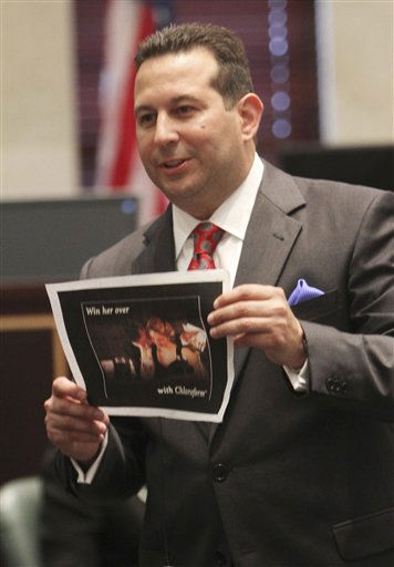 "<div class=""meta ""><span class=""caption-text "">Defense attorney Jose Baez presents closing arguments in the Casey Anthony murder trial at the Orange County Courthouse in Orlando, Fla., Sunday, July 3, 2011. Anthony has plead not guilty to first-degree murder in the death of her daughter, Caylee, and could face the death penalty if convicted of that charge. (AP Photo/Red Huber, Pool) (AP Photo/ Red Huber)</span></div>"