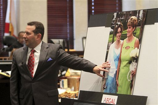 Defense attorney Jose Baez discusses a photo of Casey and Cindy Anthony during his closing arguments in the murder trial of Casey Anthony in Orlando, Fla., Sunday, July 3, 2011. Casey Anthony has plead not guilty to first-degree murder in the death of her daughter, Caylee, and could face the death if convicted of that charge. &#40;AP Photo&#47;Red Huber, Pool&#41; <span class=meta>(AP Photo&#47; Red Huber)</span>