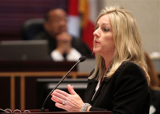 "<div class=""meta ""><span class=""caption-text "">Assist. State Attorney Linda Drane Burdick presents the final portion of rebuttal at the Orange County Courthouse in Orlando, Fla. on Monday, July 4, 2011.  Anthony has plead not guilty to first-degree murder in the death of her daughter, Caylee, and could face the death penalty if convicted of that charge.  (AP Photo/Red Huber, Pool) (AP Photo/ Red Huber)</span></div>"