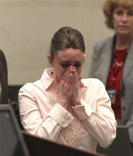 "<div class=""meta ""><span class=""caption-text "">Casey Anthony reacts after the jury acquitted her of murdering her daughter, Caylee, during Anthony's murder trial at the Orange County Courthouse in Orlando, Fla., Tuesday, July 5, 2011. (AP Photo/Red Huber, Pool) (AP Photo/ Red Huber)</span></div>"
