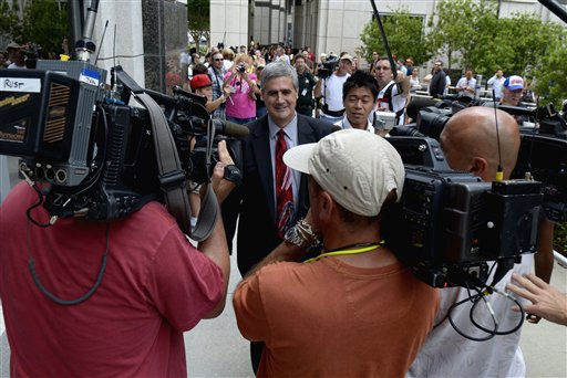 Prosecutor Jeff Ashton, center, is swarmed by reporters as he walks to the entrance of the Orange County Courthouse for the reading of the Casey Anthony verdict in Orlando, Fla., Tuesday, July 5, 2011. Casey Anthony, was found not guilty Tuesday  of killing her 2-year-old daughter three years ago in a case that captivated the nation as it played out on national television. &#40;AP Photo&#47;Phelan M. Ebenhack&#41; <span class=meta>(AP Photo&#47; Phelan M. Ebenhack)</span>