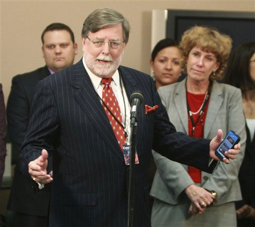 Cheney Mason answers questions after his client, Casey Anthony, was found not guilty in her murder trial in Orlando, Fla., Tuesday, July 5, 2011.   Anthony had been charged with killing her daughter, Caylee. &#40;AP Photo&#47;Joe Burbank, Pool&#41; <span class=meta>(AP Photo&#47; Joe Burbank)</span>