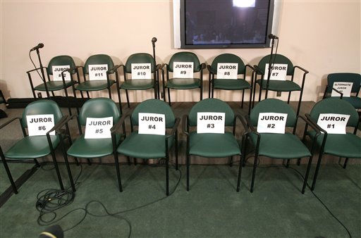 "<div class=""meta ""><span class=""caption-text "">The empty juror chairs in the media room after the jury found Casey Anthony not guilty in her murder trial, at the Orange County Courthouse, in Orlando, Fla., Tuesday, July 5, 2011.  All the jurors, including alternates, declined to attend a news conference after the verdict was read. (AP Photo/Joe Burbank, Pool) (AP Photo/ Joe Burbank)</span></div>"