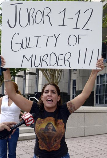 Michelle Caballero, of Miami, protests the Casey Anthony verdict outside the Orange County Courthouse in Orlando, Fla., Thursday, July 7, 2011.  Judge Belvin Perry sentenced  Anthony to four years for lying to investigators but says she can go free in late July or early August because she has already served nearly three years in jail and has had good behavior. While acquitted of killing and abusing her 2-year-old daughter Caylee, Anthony was convicted of four counts of lying to detectives trying to find her daughter in July 2008.&#40;AP Photo&#47;Phelan M. Ebenhack&#41; <span class=meta>(AP Photo&#47; Phelan M. Ebenhack)</span>