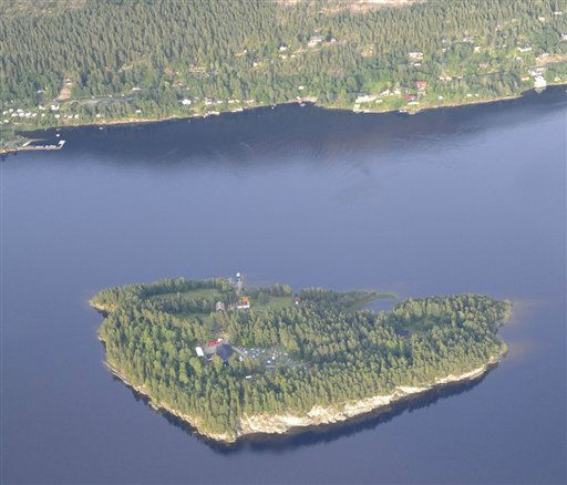 An aerial view of Utoya Island, Norway taken Thursday, July 21, 2011. Police say they are sending anti-terror police to a youth camp outside Oslo after reports of a shooting there following the bomb blast at the government headquarters. The news site VG reported that a man dressed in a police uniform opened fire at the camp. It says several people were injured. Oslo police chief Anstein Gjengdal said anti-terror units were being sent to the camp at Utoya, outside the Norwegian capital. He had no other information on that incident, which came hours after a bomb blast outside the government headquarters killed at least two people and injured 15. &#40;AP Photo&#47;Mapaid, Lasse Tur&#41;  NORWAY OUT <span class=meta>(AP Photo&#47; Lasse Tur)</span>