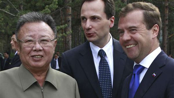 "<div class=""meta ""><span class=""caption-text "">FOR USE AS DESIRED, YEAR END PHOTOS - FILE -In this Aug. 24, 2011 file photo, North Korean leader Kim Jong Il, left, listens to Russian President Dmitry Medvedev, right, during a meeting an a military garrison, outside Ulan-Ude. Russian President Dmitry Medvedev arrived in remote eastern Siberia for a summit with North Korean leader Kim Jong Il expected to focus on energy deals, economic aid and nuclear disarmament.  (AP Photo/RIA Novosti, Dmitry Astakhov, Presidential Press Service, File) (AP Photo/ Dmitry Astakhov)</span></div>"