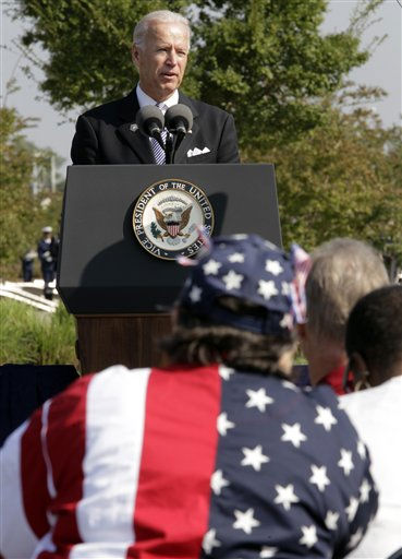 Vice President Joe Biden speaks as families and survivors honor the victims of the the Sept. 11, 2001, attack on the Pentagon at a tenth anniversary remembrance ceremony at the Pentagon Memorial in Washington Sunday, Sept. 11, 2011.   <span class=meta>(AP Photo&#47; J. Scott Applewhite)</span>