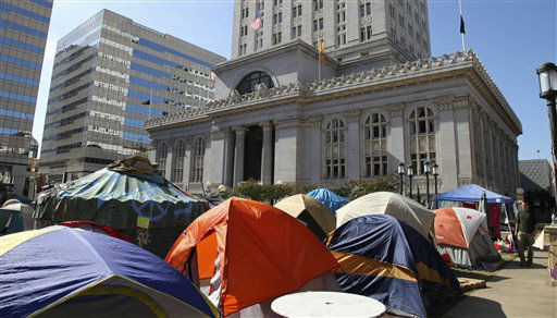 View of tents erected in front of Oakland City Hall as part of the &#34;Occupy Oakland&#34; protest Wednesday, Oct. 19, 2011, in Oakland, Calif. &#40;AP Photo&#47;Ben Margot&#41; <span class=meta>(AP Photo&#47; Ben Margot)</span>